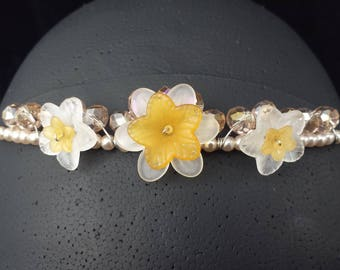 Champagne-colored glass bead and faux pearl tiara, headband with yellow and white flowers ***FREE SHIPPING***