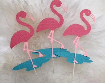 Flamingo cupcake toppers/Food Picks, summer Party