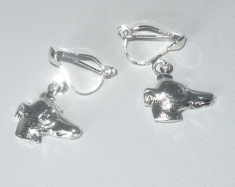 Greyhound Dog Jewelry CLIP ON Earrings with Silver Plt Greyhound or Whippet Profile Charms