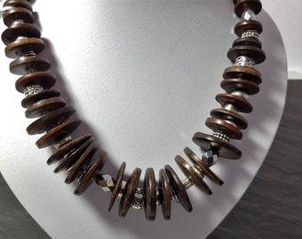 Necklace, wooden Necklace dark brown