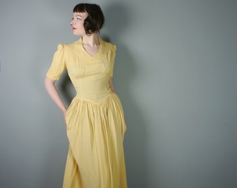 40s YELLOW long crepe dress with puff sleeves and sweeping skirt - 1940s WWII / art deco evening gown - S