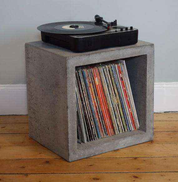 Solid Concrete Storage Cube For Lp Vinyl Record