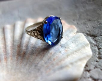 Beautiful old ring-silver-ALPACCA stamped-Art deco-with luminous blue, polished stone