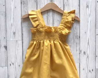 Yellow Girls Dress, Yellow Summer Dress, Girls Summer Clothes, Yellow Baby Sundress, Shirred Dress, Toddler Summer Dress, Baby Yellow Dress