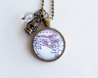 Map of Manitoulin Island Necklace - Northern Ontario - Georgian Bay - Map Pendant - Travel Jewelry - Custom Map Jewelry - Cottage Country