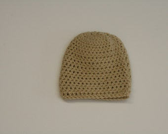 Crochet Adult Winter Beanie Hat- Light Tan. Handmade
