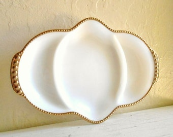 Beautiful Fireking Milk Glass Serving Dish Bowl White with Gold Trim