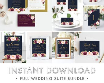 Burgundy and Navy wedding invitations, Marsala wedding invitations, Wedding Invitation Template