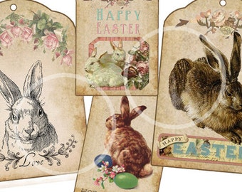 Bunny Rabbit Easter Digital Gift Tags,  Shabby Chic rabbits,  Vintage Easter Digital download, printable tags, Easter eggs, colorful Easter