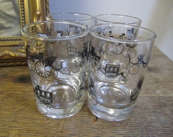 Mid Century Libby Glass Black and Gold Carriage Design.  Classic Car Glasses. Libby Glassware. Barware.