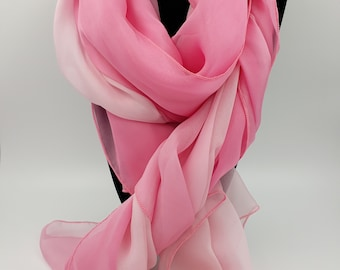 Pink to Cream Ombre 100% Silk Scarf