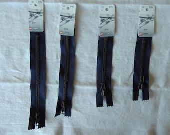 Brass zipper not separable special 12 cm Navy Blue Denim