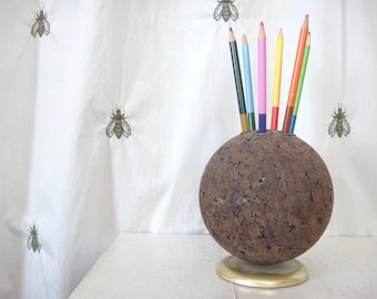 Vintage PAT Cork Globe, Mid Century, Desk Organizer, Pencil Holder, Thumb Tack Bulletin Ball, Cork Board, Rotating, Gold Metal Base, Globe