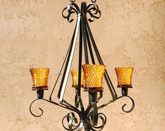 Black Metal Hanging Candelabra with Amber Glass Candleholders, Spanish Revival Candelabra, Wrought Iron Scroll Candelabra, Chandelier, NBXD