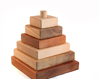 Walkiddy Natural wood toy handmade pile tower maple, walnut, Sipo