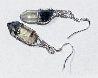 Phantom Quartz Crystal and Sterling Silver Wire Wrapped Earrings