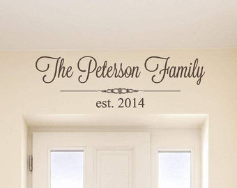 Personalized Family Wall Decal   Family Name Wall Decal   Last Name Wall Decal   Vinyl Lettering   Gift for Her   Wall Art  Wedding gift CE8
