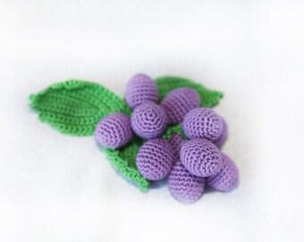 Play food Crochet Grape Amigurumi food Kitchen decor Doll food Play kitchen food Pretend Play Baby toy Baby teething toy Educational toys