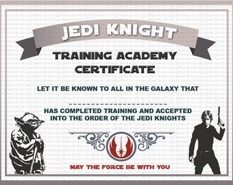 Jedi certificate etsy for Star wars jedi certificate template free