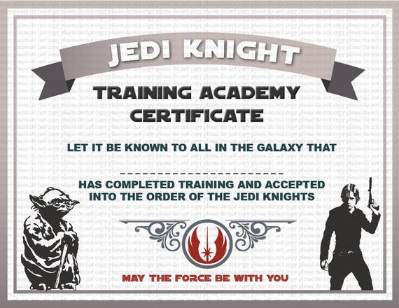 instant dl jedi knight certificate star wars birthday party printable not personalized from illikeyou on etsy studio