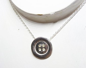 WAS usd 54.12 ,NOW usd 41.30 Gifts for her - sterling Silver Button Design Necklace