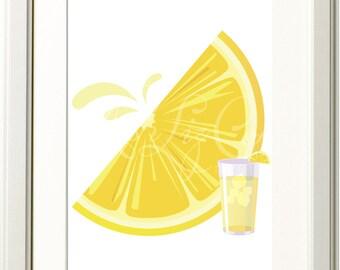 Juicy Lemon Illustration 8x10 Print