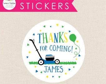 Lawnmower Favor Stickers, Lawnmower Party Stickers, Printed Lawnmower Stickers, Round Favor Labels, Favor Labels, Lauren Haddox Designs