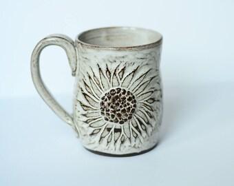 Wheel Thrown Sunflower Mug