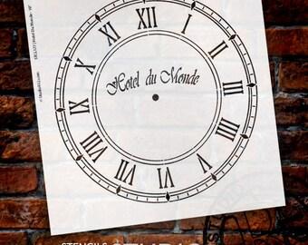 Hotel Du Monde Clock Stencil - Select Size - by StudioR12