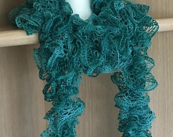 Super long teal green ruffle knit scarf / Frilly metallic teal green knit scarf / Ruffle knit scarf