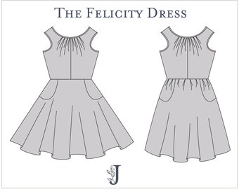 Felicity Dress Ladies PDF Sewing Pattern Multi Size 6 to 24