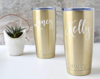 Swig Wine Tumbler Coffee Tumbler Bridesmaid Gift Gold Coffee Tumbler- Bachelorette Gift - Coffee Cup Custom Personalized Monogrammed Tumbler