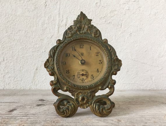 Like this item? - Antique Waterbury Desk Clock Brass Wind Up Clock 1890 19th