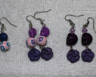 Day of the Dead Skull Earrings Purples