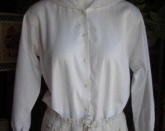 Vintage Sailor Blouse. Japanese Schoolgirl White Blouse. Size S. Japanese Tag.Long Sleeve. Pre Loved.