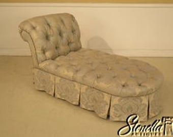 29243E: Damask Tufted Upholstered Chaise Lounge Chair