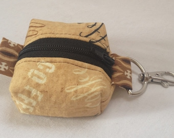 Coffee Fabric Lip Balm Zipper Pouch/Key Ring/Coffee Lover Gift