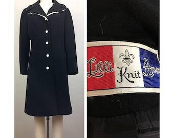Vintage 60s LILLI ANN Black Knit Coat w/ White Floral Trim Mod S/M