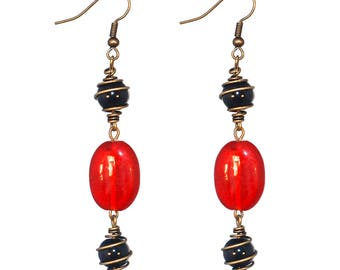 Red and black dangling earrings * flamenco style * Golden spiral