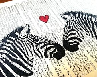 Wedding Gift   Zebra Love   Valentine Gift   Love Gift   Engagement Gift   Art Print   Book Art   Husband Gift   Gift for Wife   Wall Decor