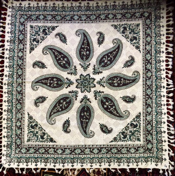 "Green and brown tablecloth, block printed tapestry art, paisley tablecloth , wall decor, natural textile 39"" inches with tassels"