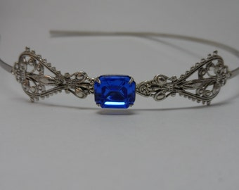Sapphire blue headband Victorian headband wedding headband bridesmaid victorian headband bridal headband bridal accessories hair accessories