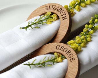 Wooden Name Place Settings - Napkin Rings - Oak - Wedding Table Decoration - Name Place Cards - Seating plan - Rustic wedding - wood wedding