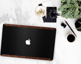 Macbook Pro 13 Case Macbook Air Case Laptop Case Macbook Case . Brushed Black and Primavera Rustic Wood Edge               Natural Series