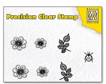 Stamp clear leaf/flower/Ladybug 5, 5 x 3, 5 cm_APST025