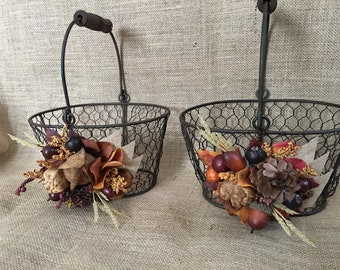 Fall Flower Girl Basket, Rustic Wedding Basket, Flower Girl Bucket, Flower Girl Accessory, Rustic Wedding Accessory