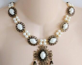 Renaissance Necklace, Medieval Necklace, Tudor Necklace, Medieval Jewelry, Renaissance Jewelry, Antiqued Brass,Like Lady Rebekka, Rdy 2 Ship