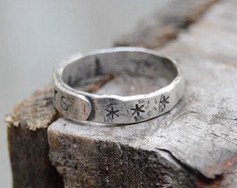 Sweet Sterling Stars Ring. Handmade . Fine Silver . Rustic . Earthy . Boho . Sz.7