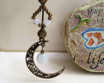 Moonstone Pendant, Moonstone Jewelry, Crescent Moon Pendant, Moonstone Necklace, Beaded Pendant, Crescent Moon Necklace, Moon Jewelry