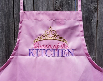 Personalized Adult Apron, Adult apron, personalized apron, Womens apron, personalized, apron, queen, personalized gift, womens gift, gold